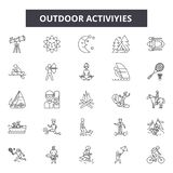Outdoor activities line icons, signs, vector set, outline illustration concept vector illustration