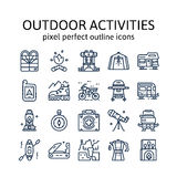 OUTDOOR ACTIVITIES : Outline icons , pictogram and symbol collection. Stock Images