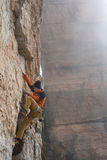 Outdoor activity. Extreme rock climbing lifestyle. Male rock climber on a cliff wall. Siurana, Spain. Sport Royalty Free Stock Photo