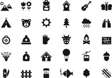 Outdoor activity icon set. Set of black and white glyph flat icons relating to nature, hiking, camping and outdoor activities Stock Photo
