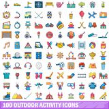 100 outdoor activity icons set, cartoon style. 100 outdoor activity icons set in cartoon style for any design vector illustration stock illustration