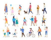 Outdoor Activity, Men and Women with Children stock illustration