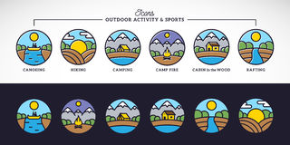 Outdoor Activity and Sports Line Style Vector Icons Set with Typography. Stock Photos