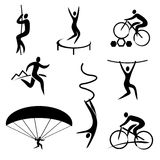 Outdoor and adrenaline sports icons. Set of black icons with outdoor and adrenaline sports. Vector available Royalty Free Stock Photography