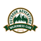 Outdoor adventure badge with mountain landscape Stock Image