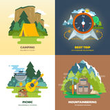 Outdoor adventure camp flat background concept set Royalty Free Stock Images