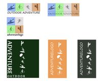 Outdoor sports adventure. Illustrations of outdoor adventure, sports design icons and logos Royalty Free Stock Images