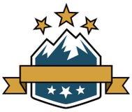 Outdoor Adventure Logo. A logo of a mountain range and stars in this outdoor adventure logo icon banner badge stock illustration
