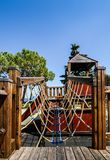 Outdoor adventure playground for kids overlooking beautiful Lake Garda in Lombardy Italy stock photo