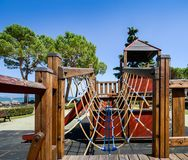 Outdoor adventure playground for kids overlooking beautiful Lake Garda in Lombardy Italy royalty free stock photo