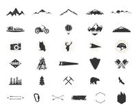 Outdoor adventure silhouette icons set. Climb and camping shapes collection. Simple black pictograms bundle. Use for. Creating logo, labels and other hiking Royalty Free Stock Photo