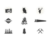Outdoor adventure silhouette icons set. Climb and camping shapes collection. Simple black pictograms bundle. Use for. Creating logo and other hiking, surf Stock Photos