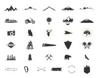 Outdoor adventure silhouette icons set. Climb and camping shapes collection. Simple black pictograms bundle. Use for. Creating logo, labels and other hiking Stock Photo