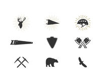 Outdoor adventure silhouette icons set. Climb and lumberjack shapes collection. Simple black pictograms bundle. Use for. Creating logo, labels and other hiking Stock Images
