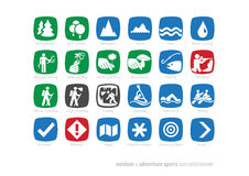 Outdoor & adventure sports icon coll#01. Hiking, trekking, outdoor & adventure sports icon collection #01 Stock Images