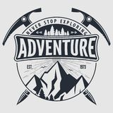 Outdoor Adventure vintage label, badge, logo or emblem. Vector illustration.  stock illustration