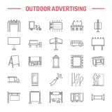 Outdoor advertising, commercial and marketing flat line icons. Billboard, street signboard, transit ads, posters banner Stock Photo