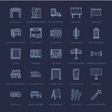Outdoor advertising, commercial and marketing flat line icons. Billboard, street signboard, transit ads, posters banner Royalty Free Stock Image