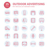 Outdoor advertising, commercial and marketing flat line icons. Billboard, street signboard, transit ads, posters banner Stock Image