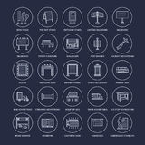 Outdoor advertising, commercial and marketing flat line icons. Billboard, street signboard, transit ads, posters banner Royalty Free Stock Photo