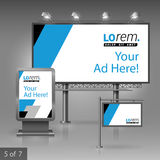 Outdoor advertising design. Geometric outdoor advertising design for company with black and blue square diagonal shapes. Elements of stationery stock illustration