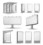 Outdoor advertising poster billboards. Urban city outdoor advertising media isolated on white royalty free illustration