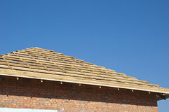 Outdoor Against A Blue Sky. Roofing Construction Exterior Stock Image