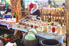 Outdoor Agricultural Market. Style watercolor. Images of people are not recognizable stock images