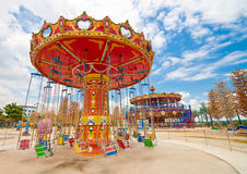 Outdoor amusement park spinner. At an LED amusement theme park Stock Photography