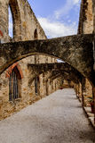 Outdoor arched colonnade. Roman arches outdoor stone colonnade Royalty Free Stock Photo