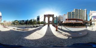 Outdoor area at New York, Las Vegas. Photography is vacation, fisheye lens and panorama. That marvel has marina, cityscape and suspension bridge and that beauty Stock Images