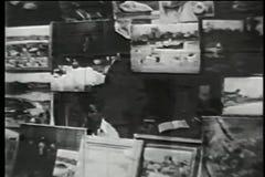 Outdoor art market in Soho, New York City, 1930s stock video footage