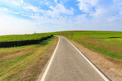 Outdoor asphalt road, exercise bike paths on the hill Stock Photography