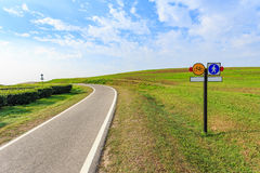 Outdoor asphalt road, exercise bike paths on the hill Stock Photos
