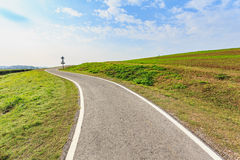 Outdoor asphalt road, exercise bike paths on the hill Stock Image