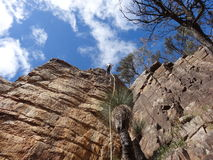 Outdoor Australian Rock Climbing. Outdoor top rope climbing on a cliff in a national park in South Australia stock photography