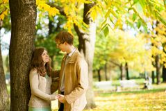 Outdoor autumn portrait of happy couple Royalty Free Stock Photos