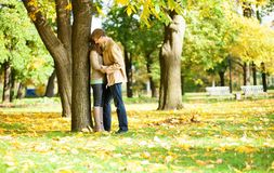 Outdoor autumn portrait of young couple Royalty Free Stock Photo