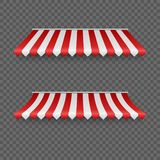 Outdoor awnings. Striped tents or textile roof for marketplace. Red and white sunshade. Vector illustration.  royalty free illustration