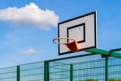 Outdoor Backboard with Hoop. Public outdoor basketball backboard with hoop Royalty Free Stock Images