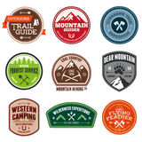 Outdoor badges. Set of outdoor adventure and expedition badges Stock Image