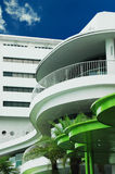 Outdoor Balcony Mall Architecture. White and green curvaceous mall architecture on the outside balcony Stock Photos