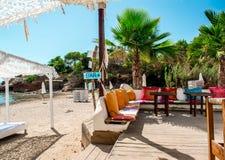 Outdoor bar on the beach of Ibiza Royalty Free Stock Photos