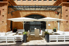 The outdoor bar on street of Sitges town Royalty Free Stock Photo