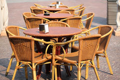 Outdoor bar. Tables and chairs outside a bar in turin Stock Photos