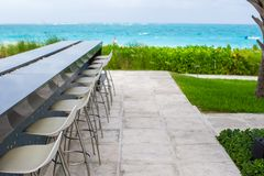 Outdoor bar on tropical beach at Caribbean Royalty Free Stock Photos
