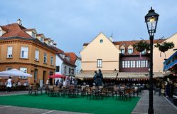 Outdoor Bar, Zagreb, Croatia. Outdoor tables and chairs at a Zagreb Old Town bar, Croatia, late afternoon, early evening stock image