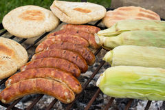 Outdoor Barbeque with smokies Royalty Free Stock Photography