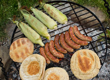 Outdoor Barbeque with smokies Stock Photos