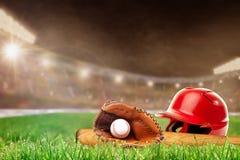 Outdoor Baseball Stadium With Helmet, Bat, Glove and Ball Stock Photos